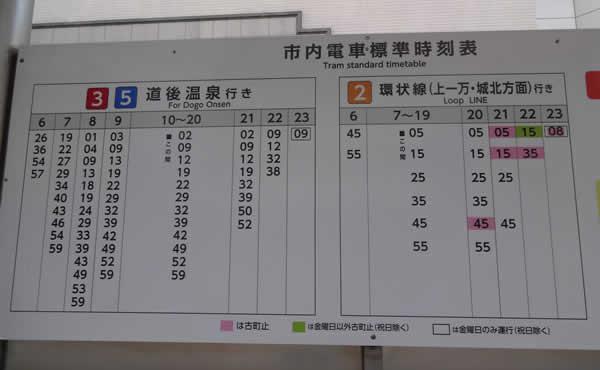 伊予鉄道の路面電車 大街道駅の時刻表